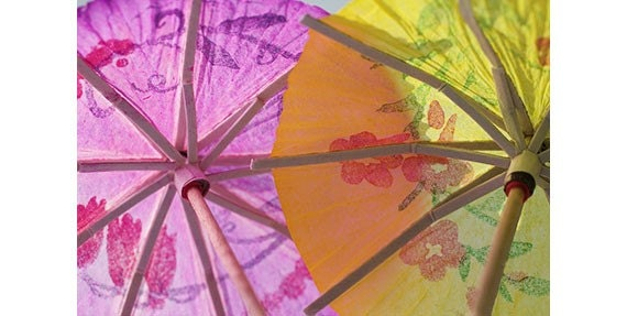 Neon Umbrellas Still Life Photograph, Let's Party,  a  Fine Art Print, Orange, Hot Pink Wall Decor - JudyStalus