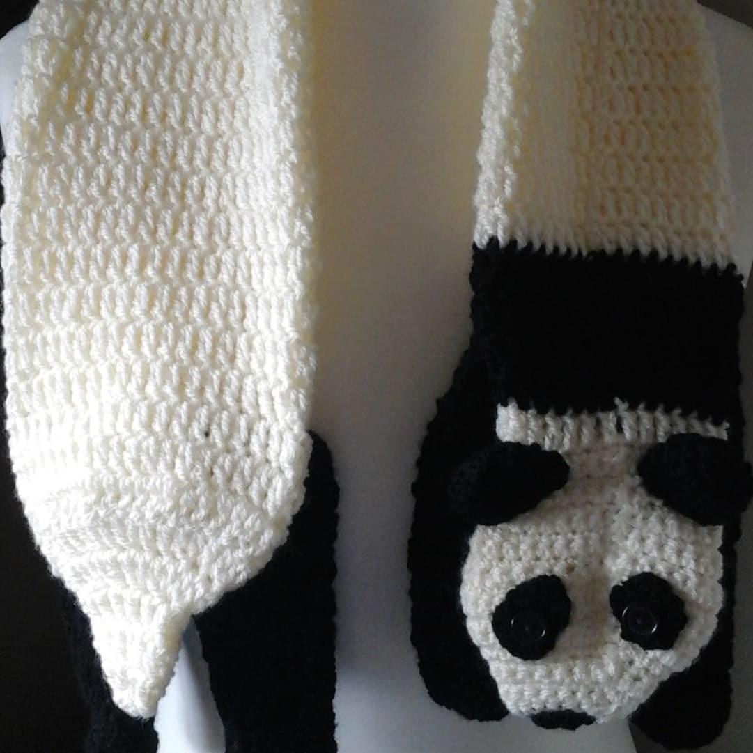 crocheted animal scarf novelty animal scarf animal scarf panda scarf Panda adult crochet scarf adult scarf