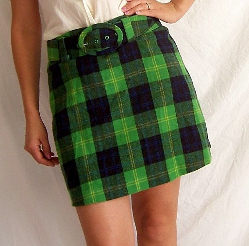 Green plaid mini skirt - Lookup BeforeBuying