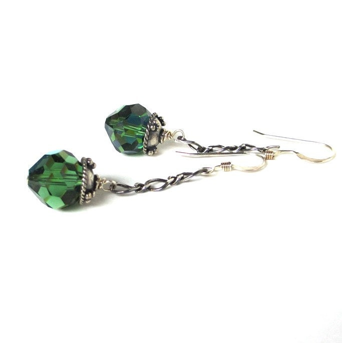 Sterling and Swarovski Green Crystal Earrings in retired Turmaline color, Emily - sandcastlejewels