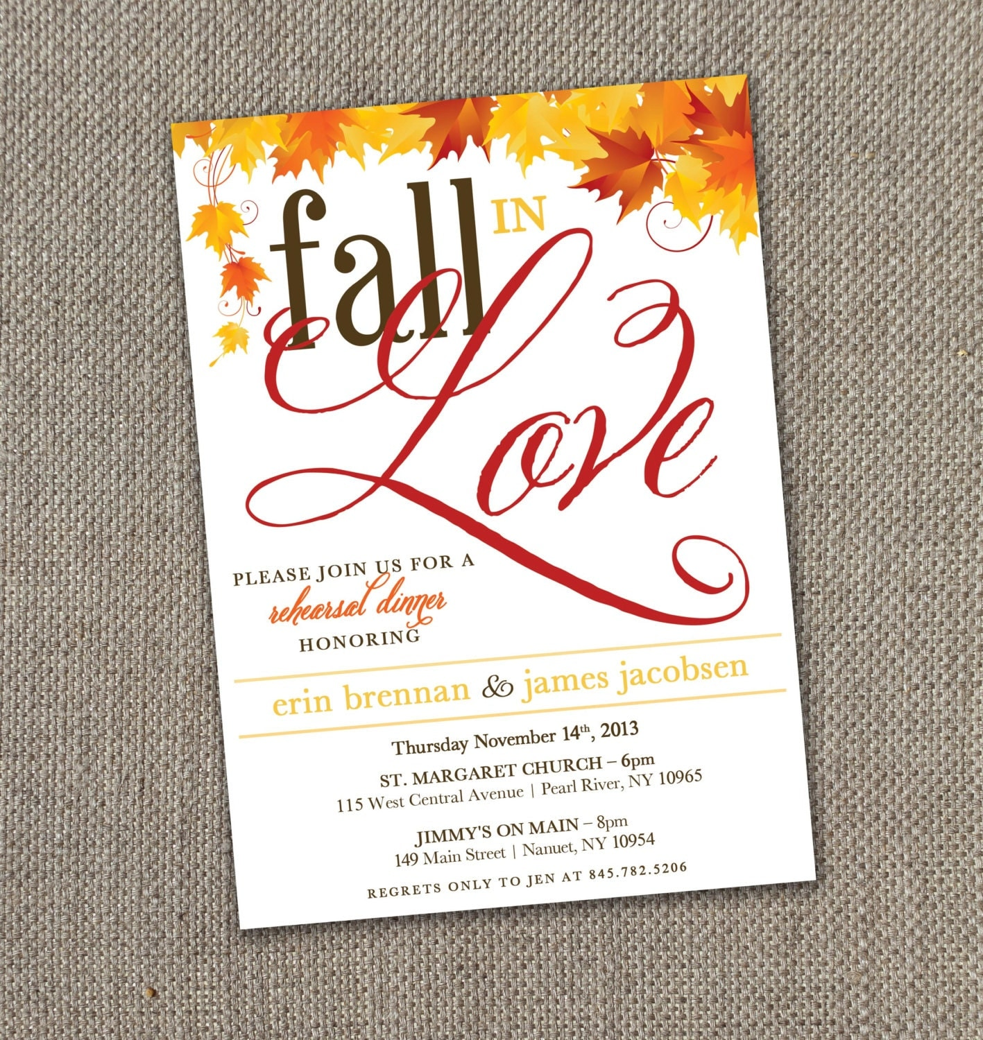 Fall in Love - Rehearsal Dinner Invitation (Digital file) - EventswithGrace