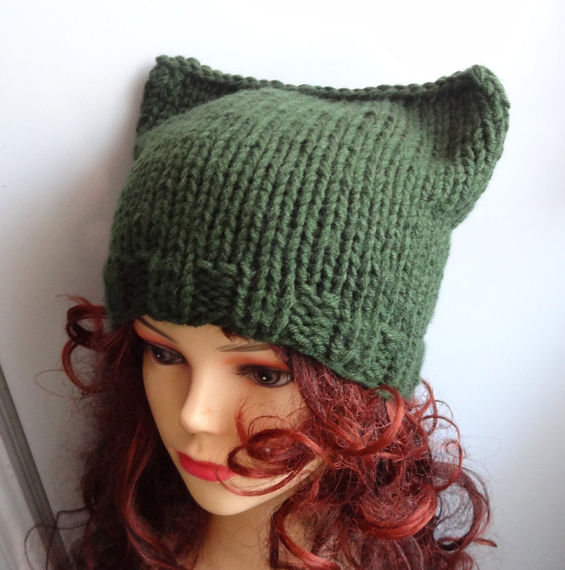 Knitting Pattern For Beanie With Ears : Items similar to Cat Ears Hat Cat Beanie Chunky Knit ...