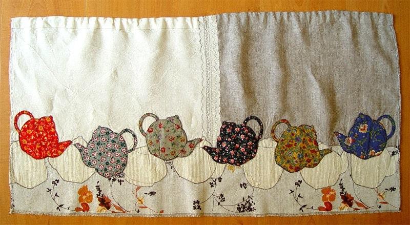 Appliqued textile curtain - Falling Teapots