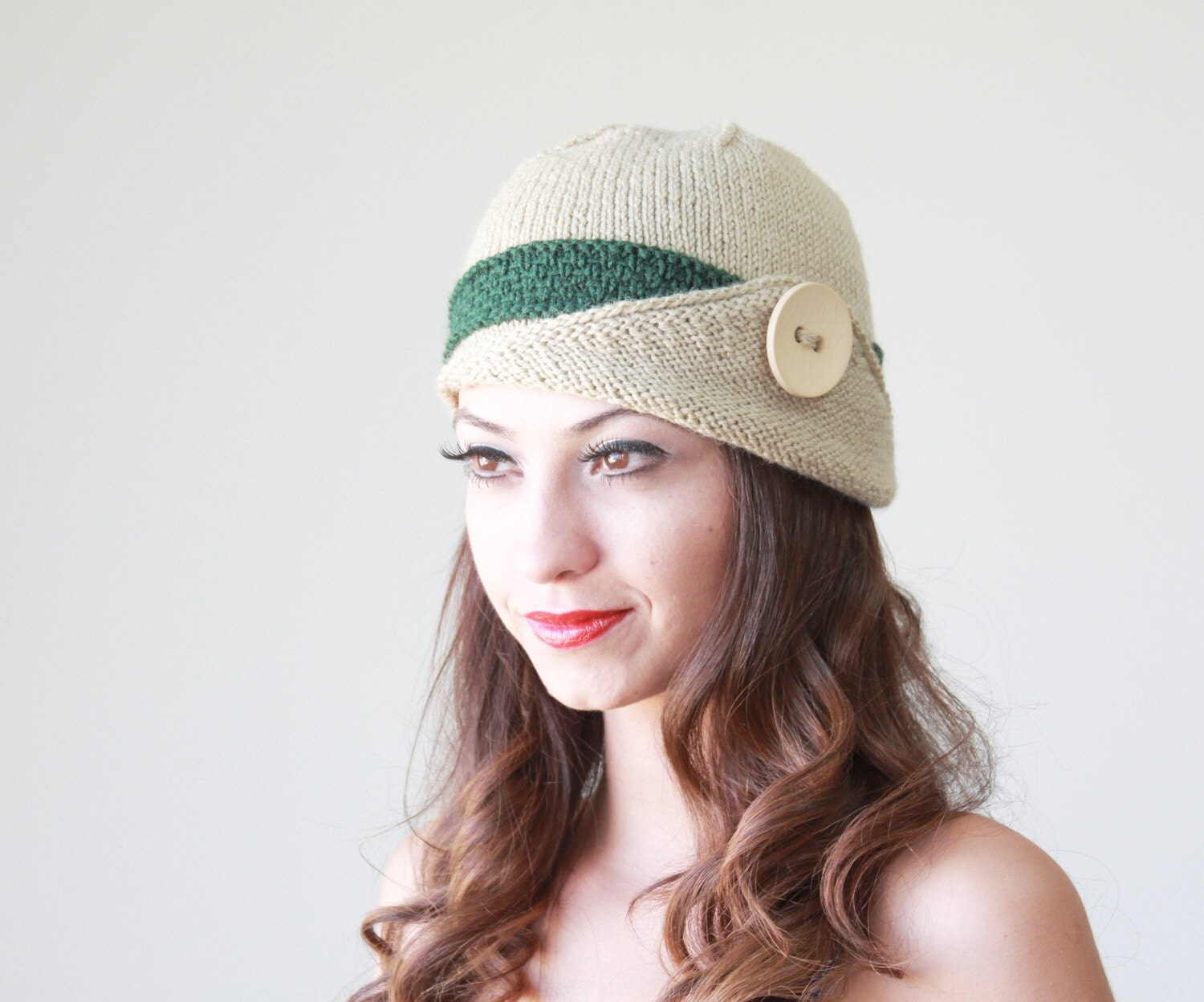 SPRING SALE Womens knit hat Lucy Hat with a button by ...
