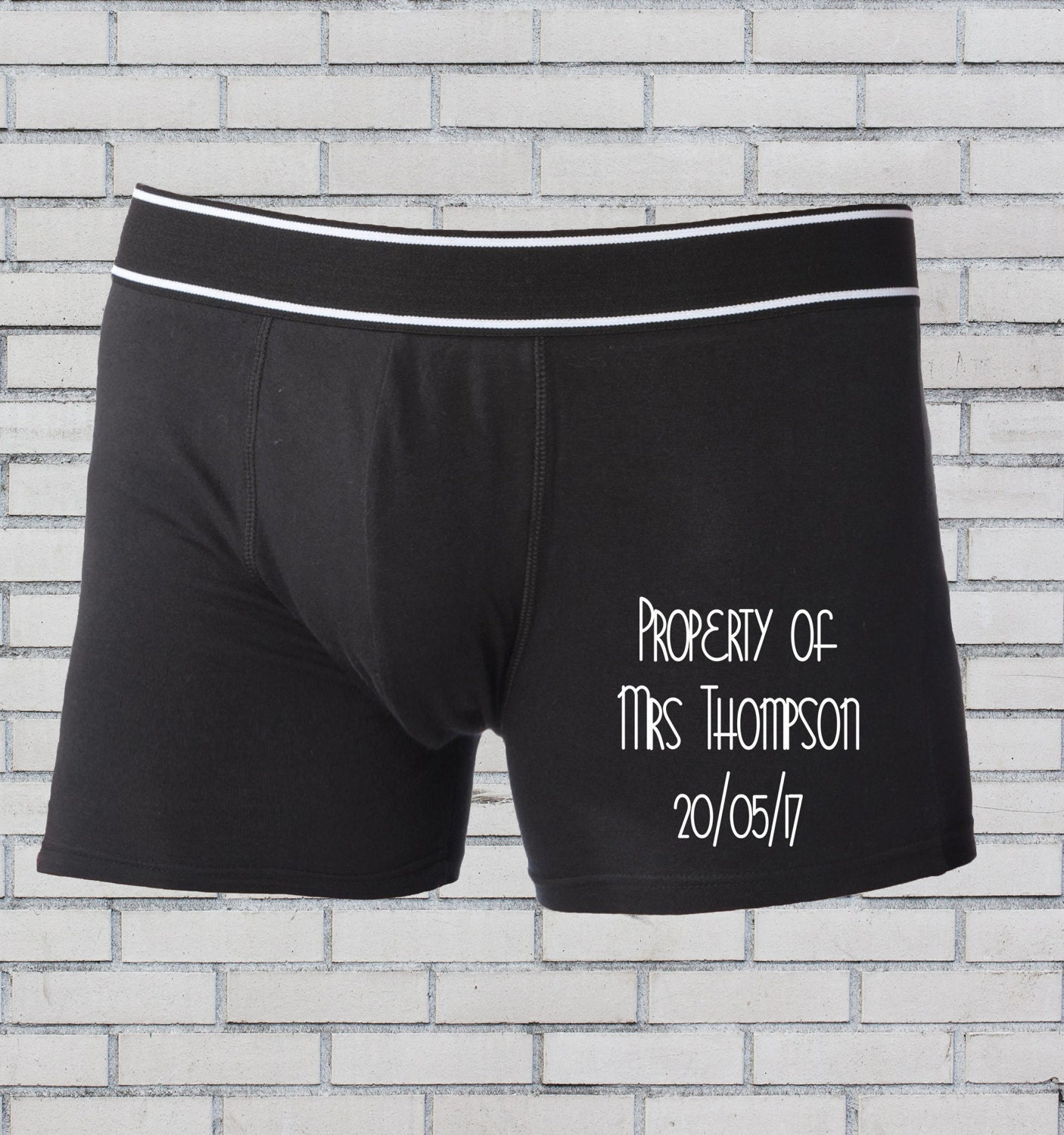 Groom boxers Personalised boxers Groom underwear Wedding boxers Personalised underwear Groomsmen boxer shorts Property of Mrs