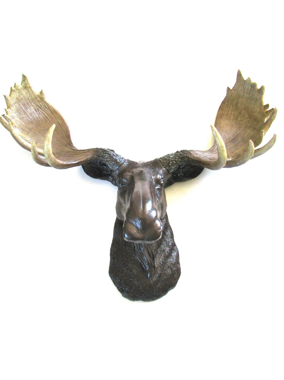 Faux taxidermy moose head wall mount wall decor by mahzerandvee - Fake moose head ...