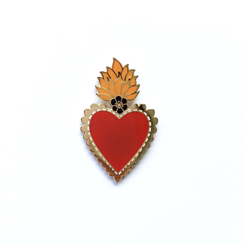 Mexican Sacred Heart Enamel Pin Lapel Pin Badge  Gold wRed Heart Orange Flames  Black Flower Hard Enamel