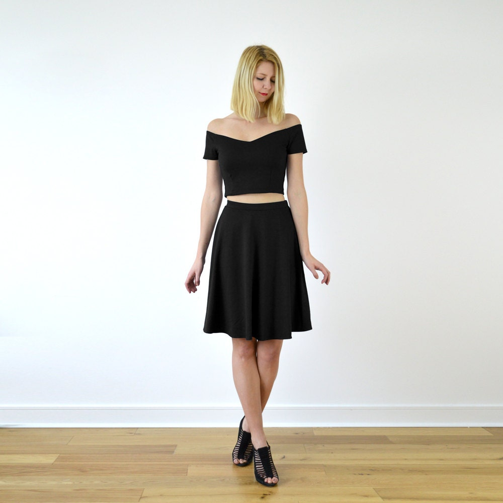 Coco TwoPiece Crop Top  Skater Skirt CoOrd Set in Black