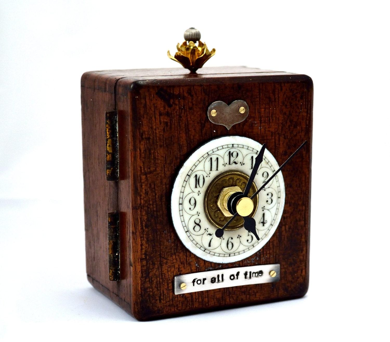 Desk clock mantel clock romantic valentines steampunk by chanchala - Steampunk mantle clock ...