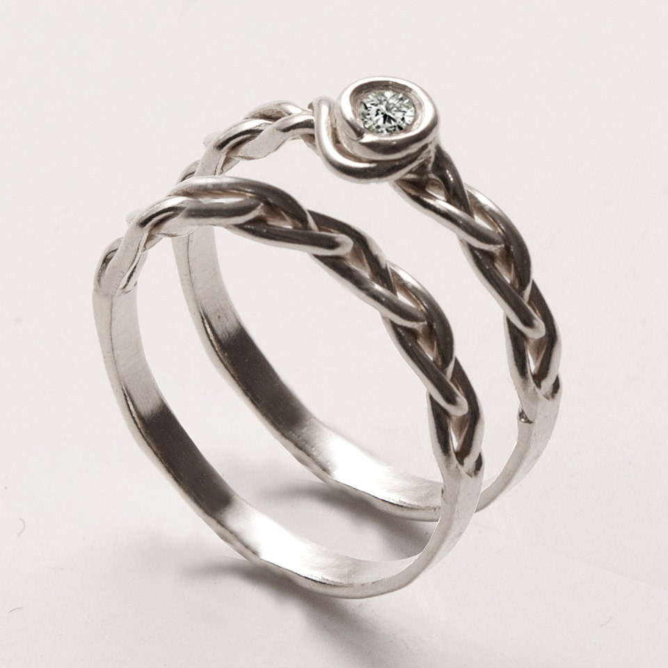 wedding ring set delicate braided engagement ring by