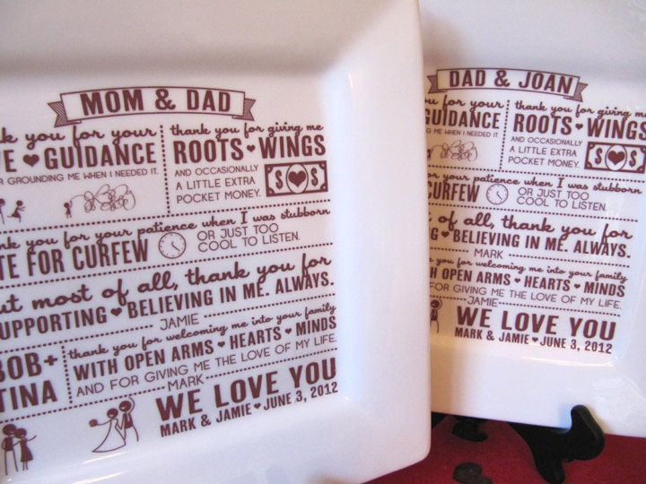 Wedding Gift Ideas From Grooms Parents : ... Wedding Gift Set of 4--Thank You Letter Platter from Bride and Groom