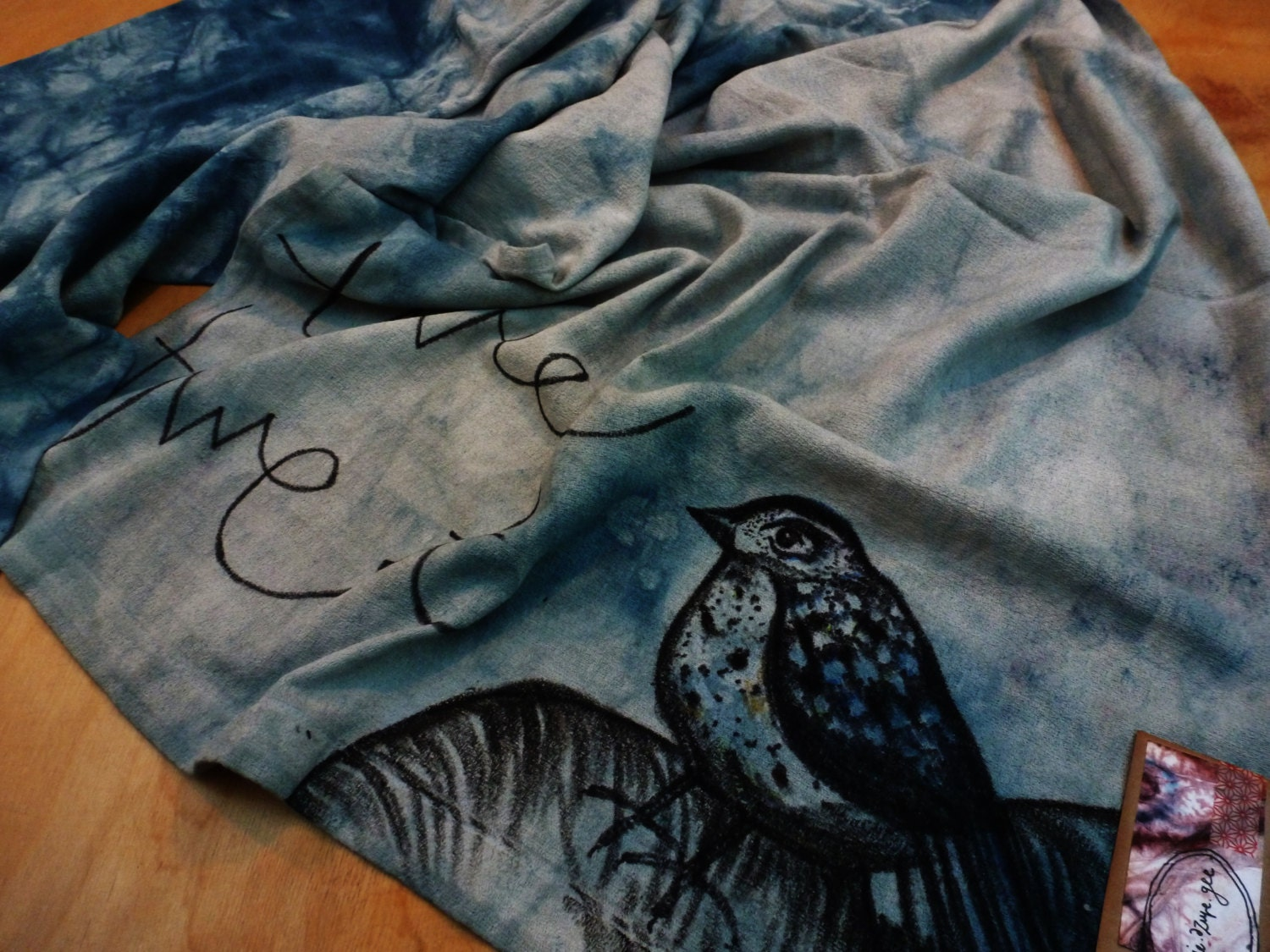 HAND DYED COTTON Scarf  Hand Illustrated Bird And Hand Written Text  Rich Blues