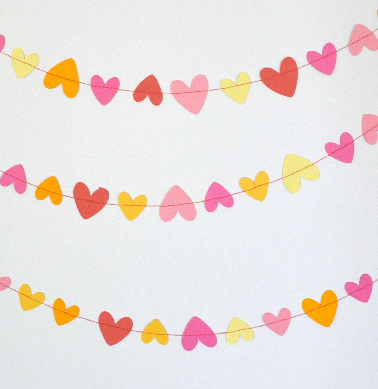 Paper Garland - Pink & Yellow Hearts - Valentine Garland - ScoutAndAcadia