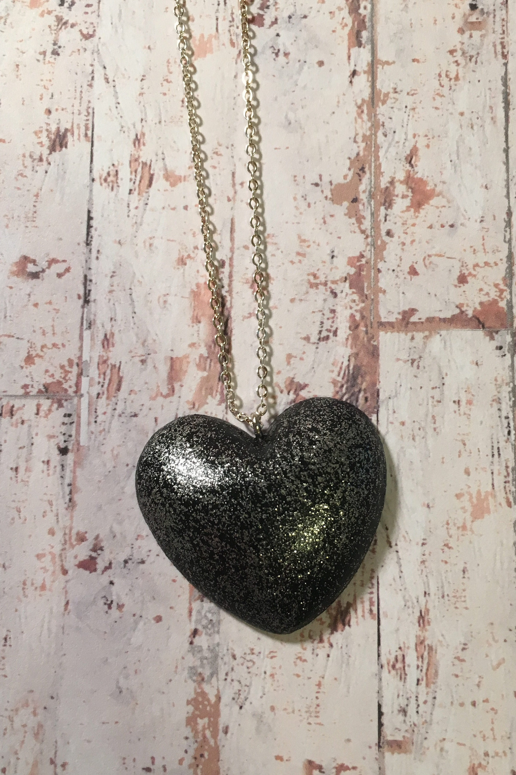 Black Glitter Heart Necklace  statement jewellery statement pendant heart pendant heart jewellery glitter jewellery gifts for her