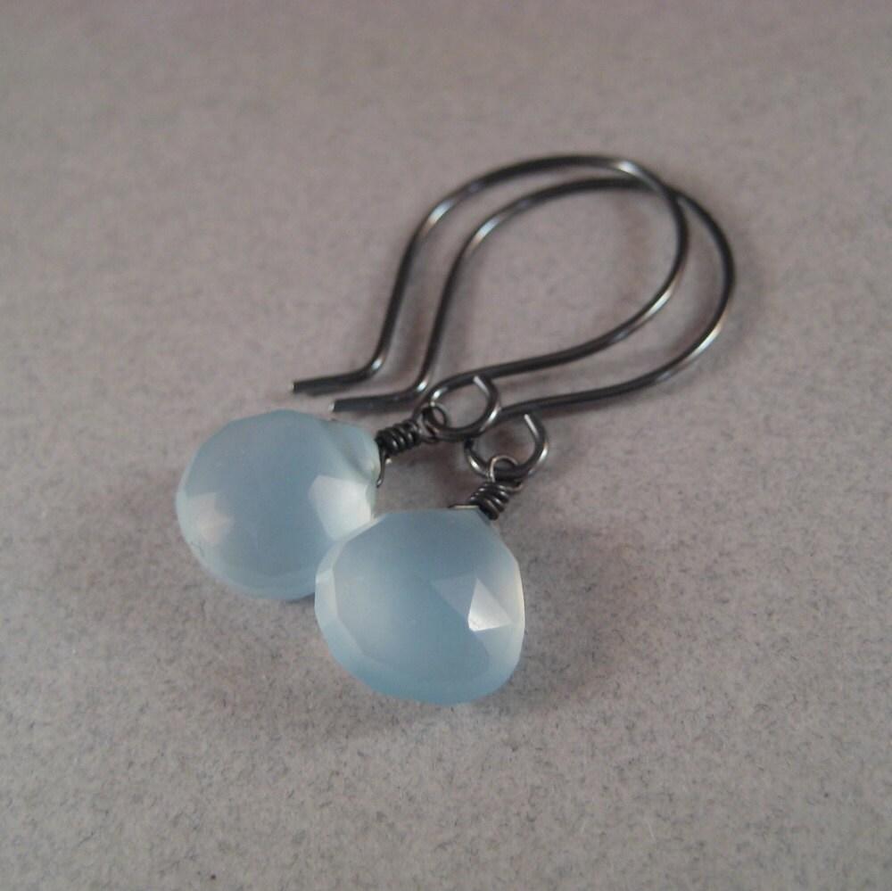 Blue Chalcedony Earrings, Gemstone Briolette Earrings, Oxidized Sterling Silver Earrings, Faceted Briolette Earrings - juliegarland