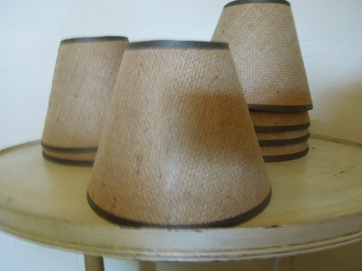 Vintage burlap lampshade burlap lamp shades by frenchtwine for Burlap lights