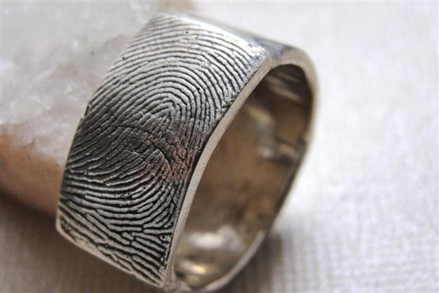Sterling Silver Mens Fingerprint Ring Signet By Rockmyworldinc