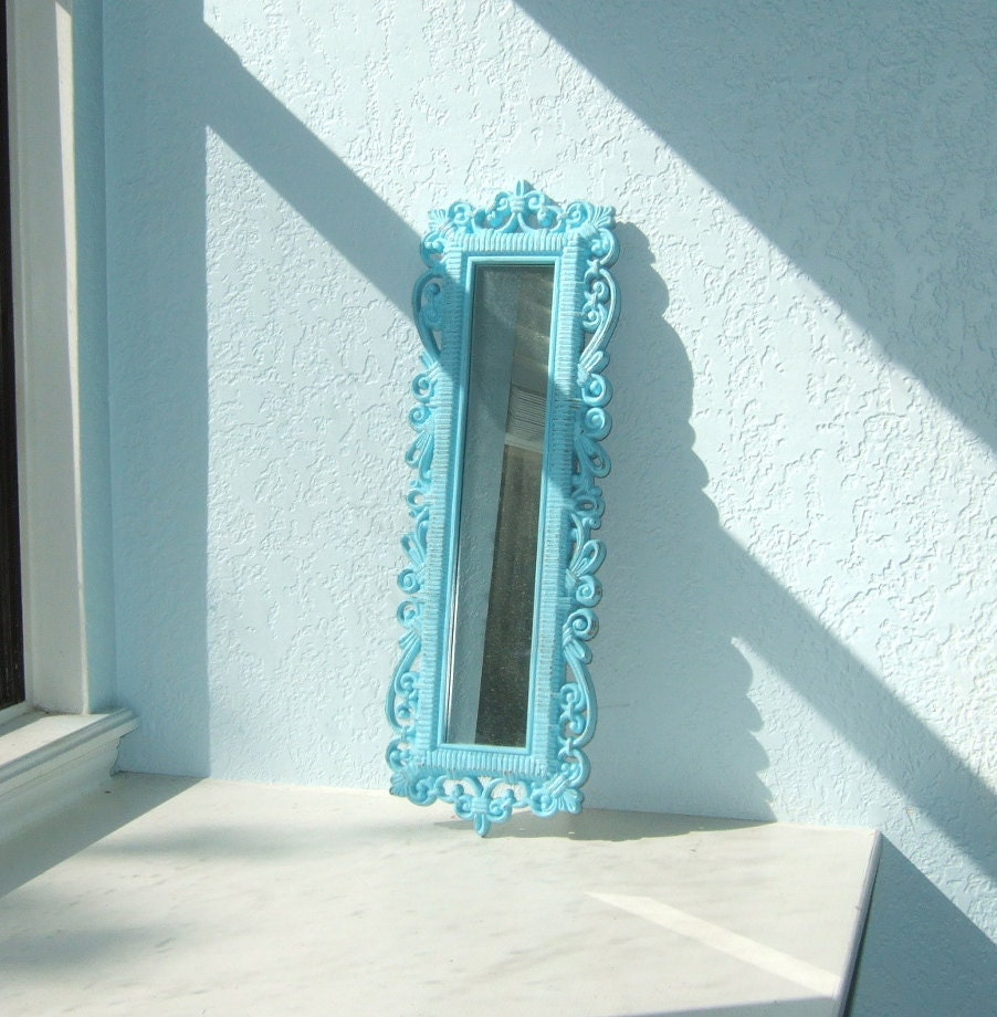 Skinny turquoise faux wicker wall mirror by theartofchic for Skinny wall mirror