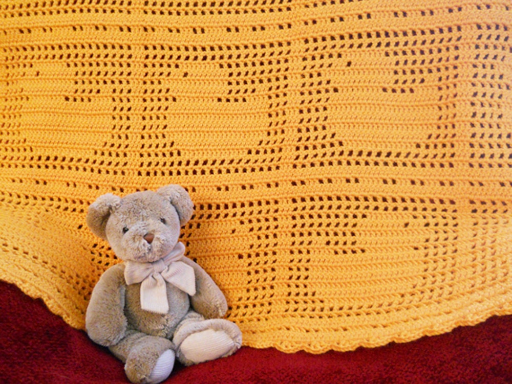 Crochet Pattern Baby Blanket Duck : Crochet Duck Baby Blanket Afghan Throw in Mango by ...
