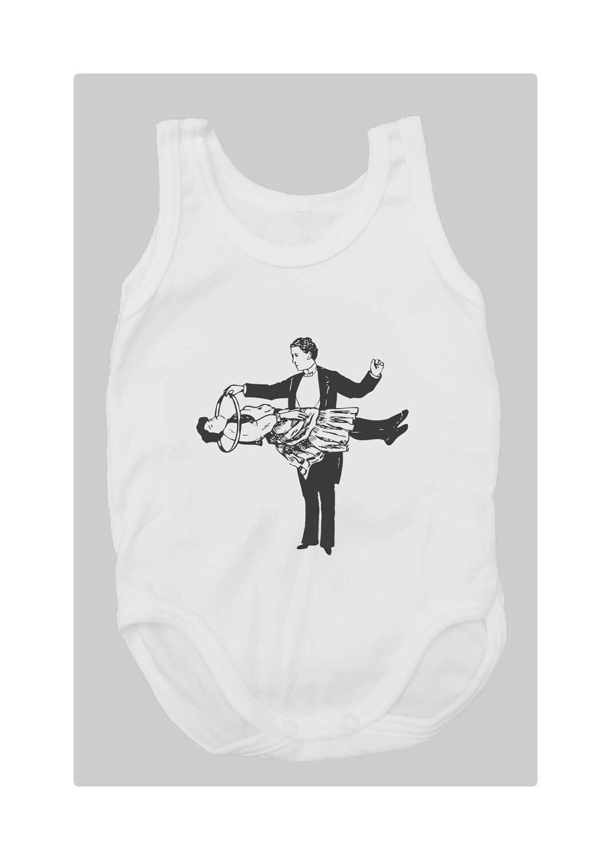 Magic Trick (100% White cotton baby bodysuit with vintage magician trick print) - mmmfantasiadealgodon