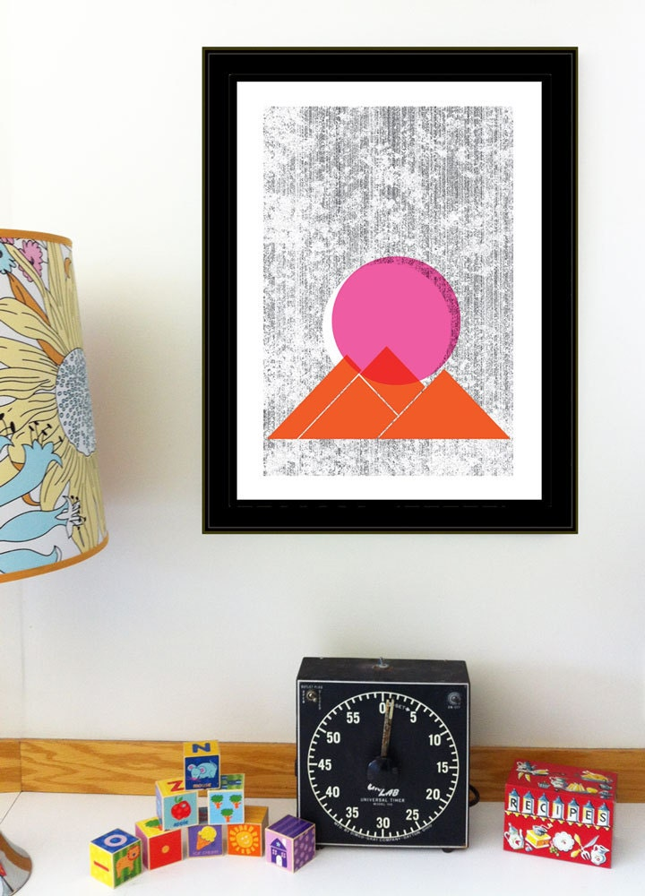 Screenprint - Sun Mountains Print Geometric Nature art print poster - limited edition hand silkscreen printed - strawberryluna