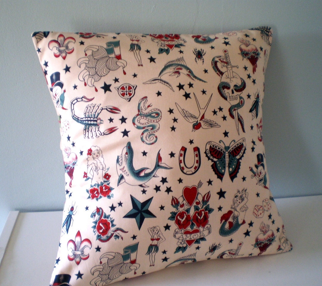 tattoo punk rock pillowcushion cover w sailor by
