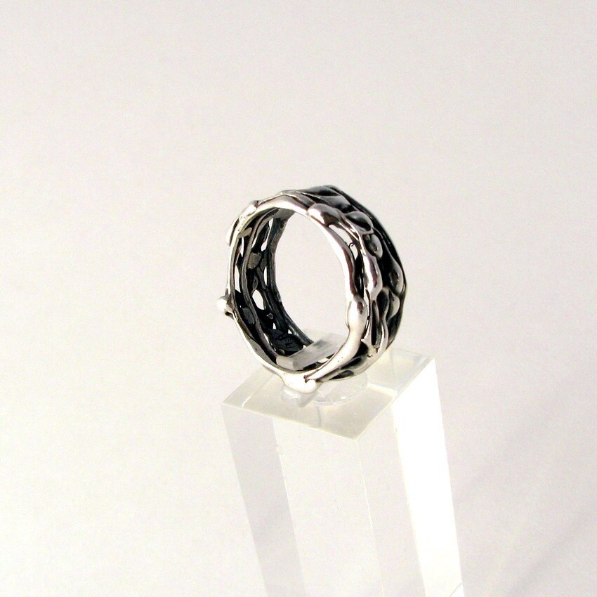 Organic Wedding Band, Sterling Silver Ring, Handmade, Metalwork, Gift for Men - LulyJewelry