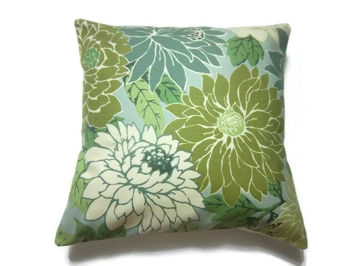 Decorative Pillow Cover Mint Green Off White by LynnesThisandThat