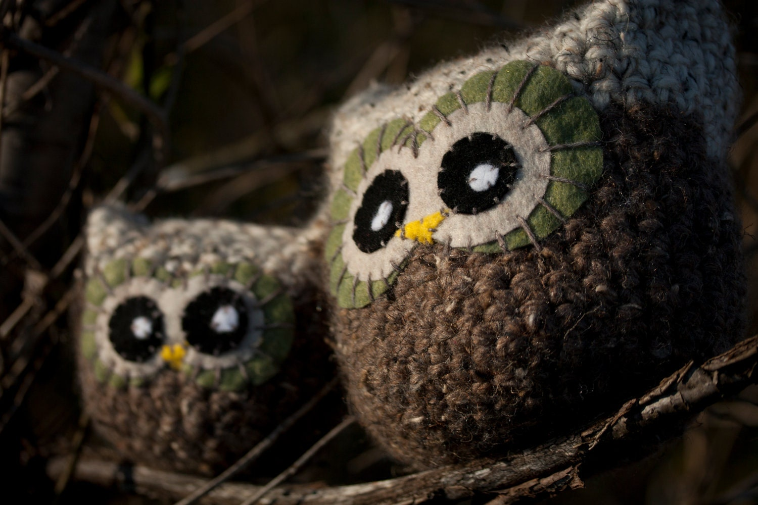 Owl Amigurumi - Brown And Tan, Cabin Decor, Autumn, Pillow, Plush, Made To Order - JollyOlChap