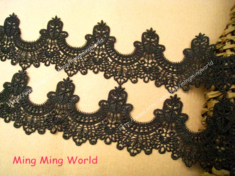 Black Lace Trim Black lace applique - 2 yards