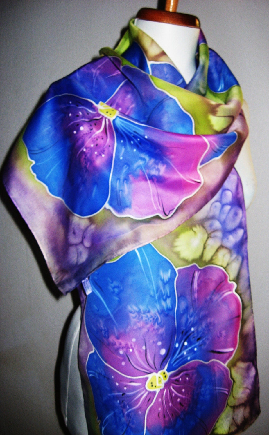 pantsy hand painted silk scarf by silkmagic on etsy