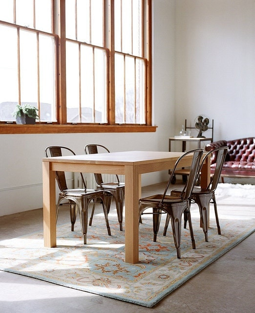 In Stock - Parsons Dining Table - Solid White Oak - hedgehouse