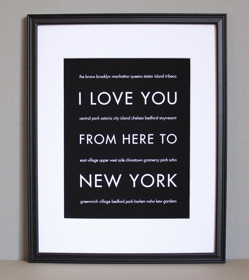 NYC Art, I Love You From Here To NEW YORK, 8x10, Custom Color, Unframed, Mothers Day Sale