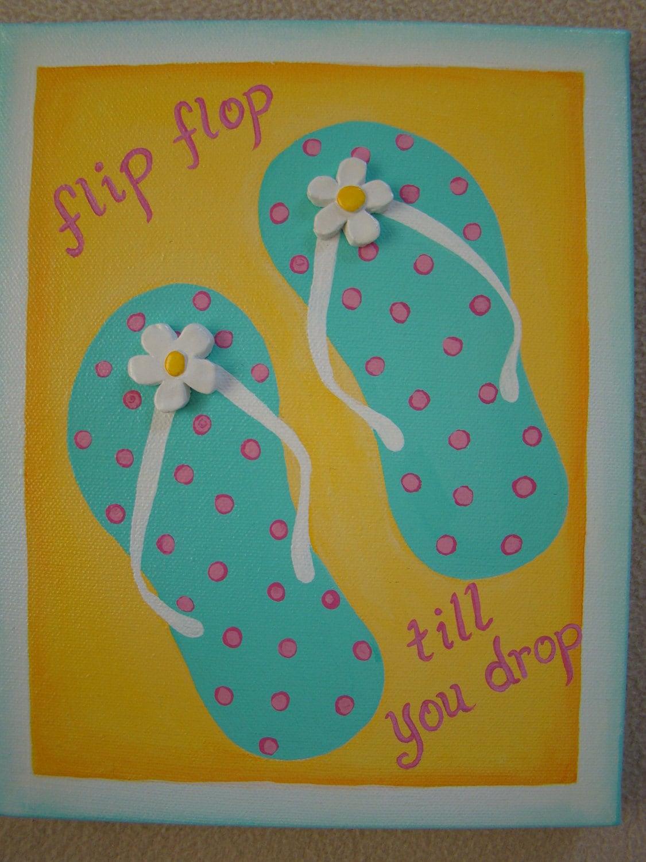flip flop painting original 8 x 10 by true2yourart on etsy. Black Bedroom Furniture Sets. Home Design Ideas