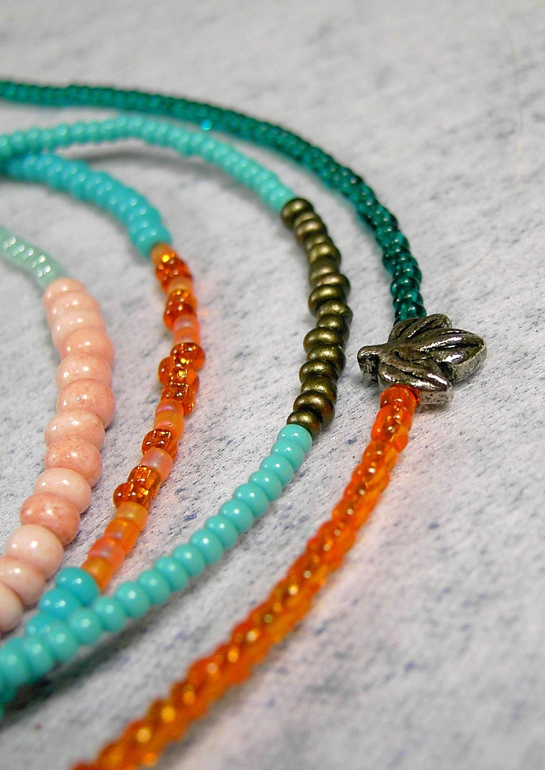 Beaded Bracelet Seed Bead Friendship bracelet Tangerine Orange and Teal Layer with Leaf - CarolEJewelry