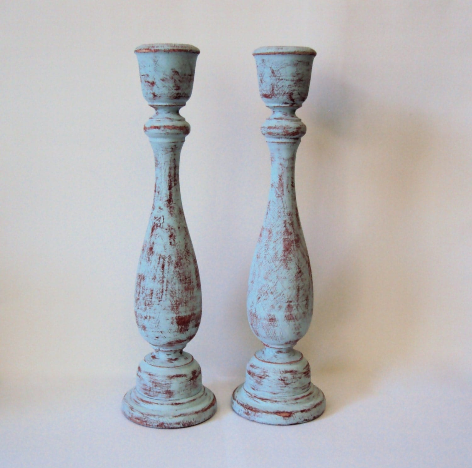 Hand Painted Wooden Candlesticks