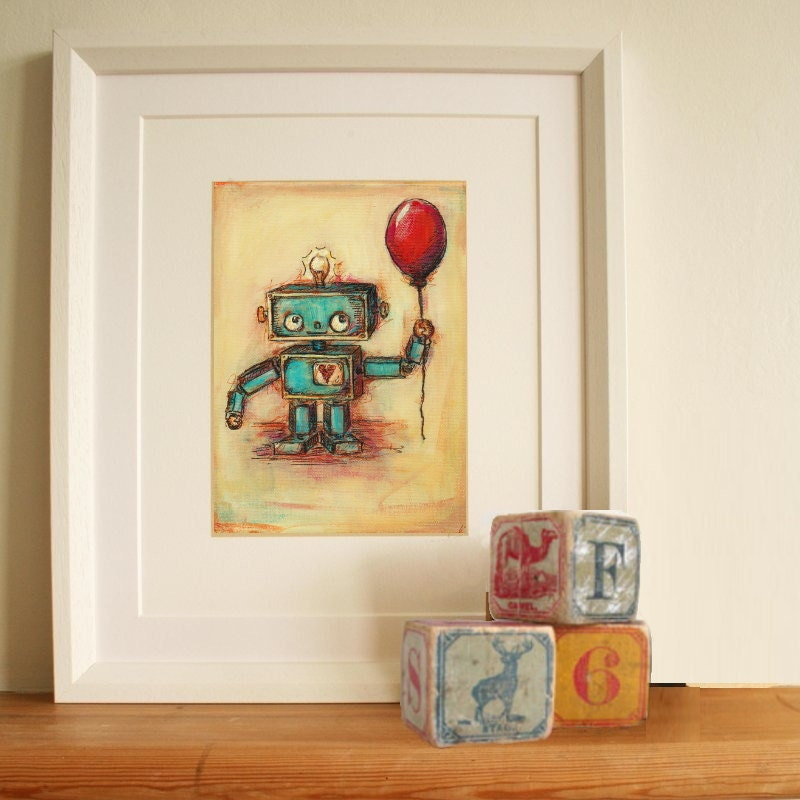 Robot's Red Ballon- painting with quote or personalized message: hand signed art print - JennyDaleDesigns