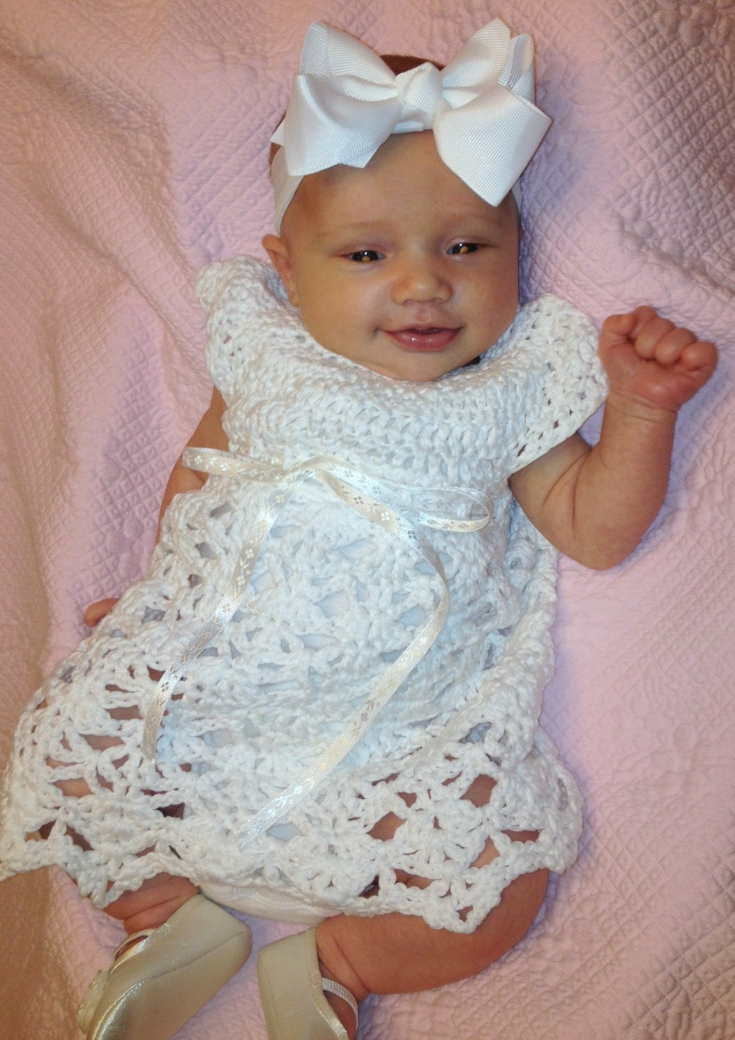 Elegant Rebecca Dress Crochet Pattern Sizes 0-3 Months and 3-6 Months