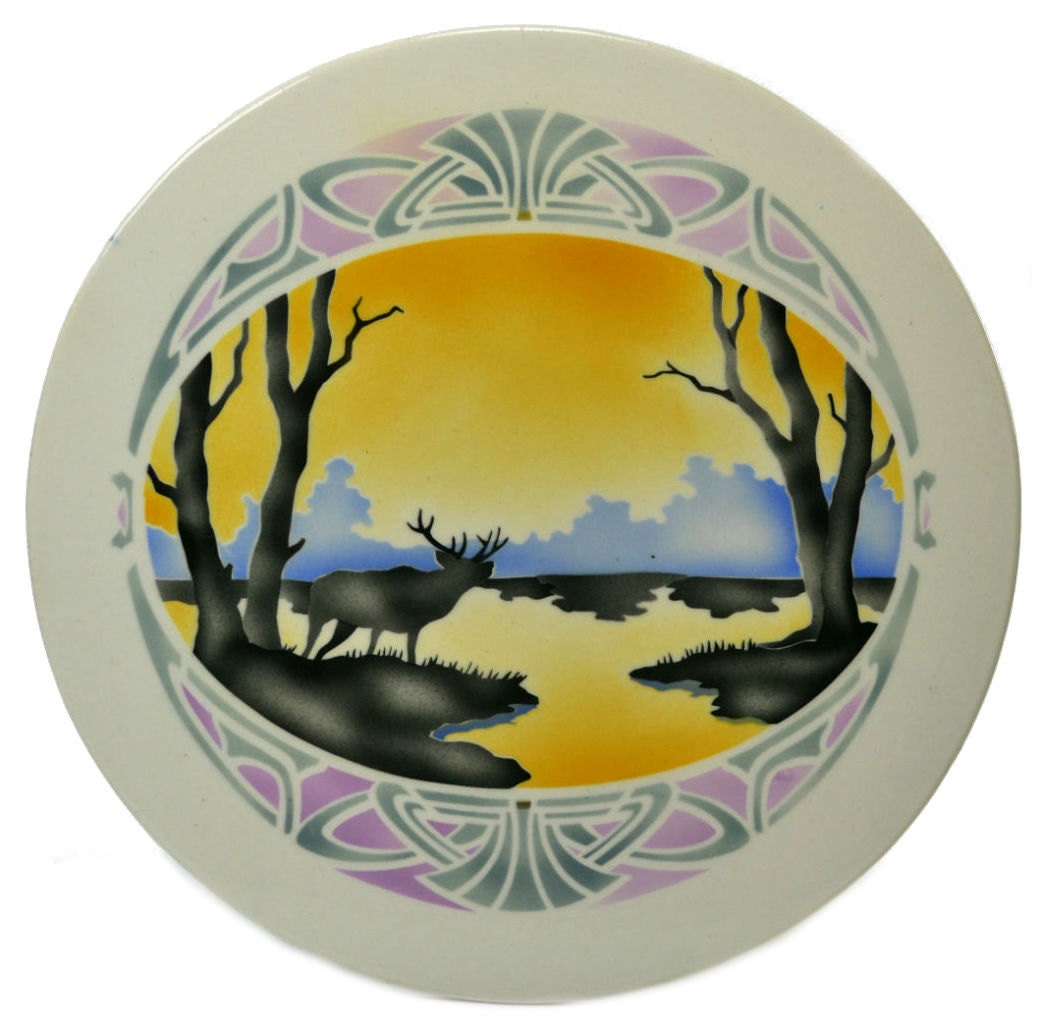 Attractive Arts Crafts Landscape TRAY Porcelain Serving Dinner Antique Yellow Cake Retro German Early 1900s LS