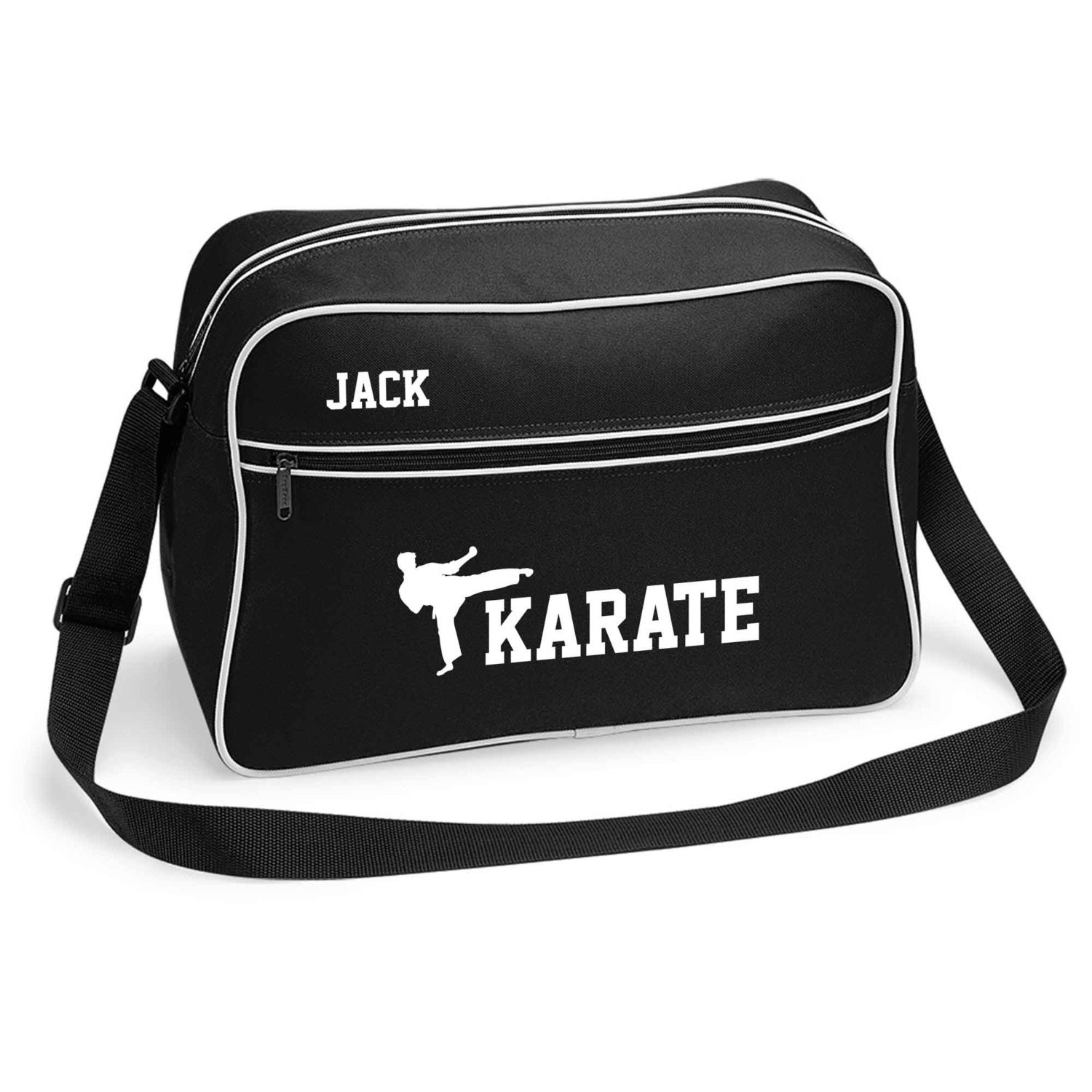 Personalised Retro Sports Bag Karate by Inspired Creative Design