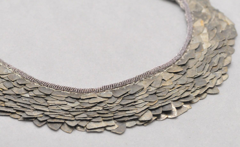 bib necklace bronze metal industrial