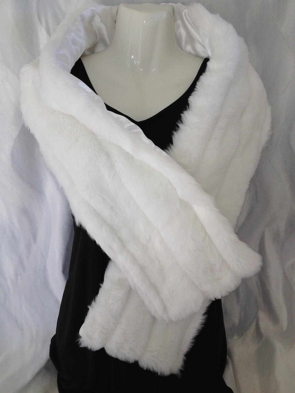 White Mink Faux Fur Stole