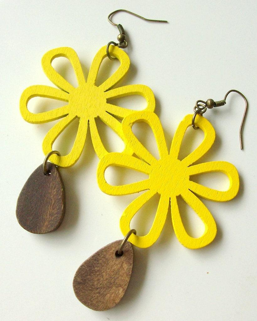 Autumn Flower Wood Brass Earrings - Bohemain - Yellow - Dangle - stoneandbone