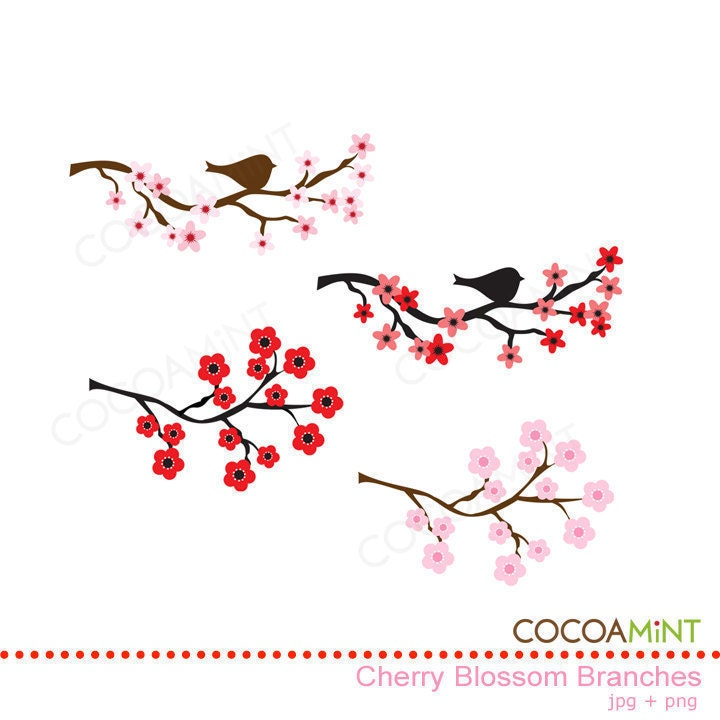 Cherry Blossom Branches Clip Art by cocoamint on Etsy
