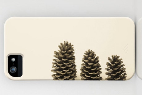 iPhone5 or iPhone 4S Hard Case- Photo Cell Phone Cover - Three Pinecones - Nature - Woodland - Still Life - Vintage Look - Brown, Tan