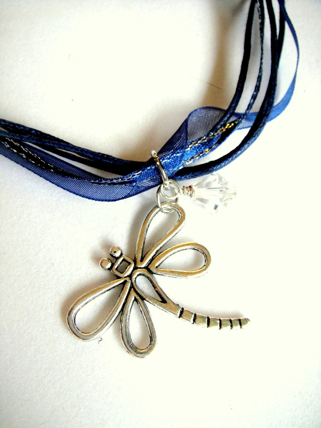 Dragonfly Necklace with Clear Crystal Bicone on Navy Ribbon Cord - mktENGINEER