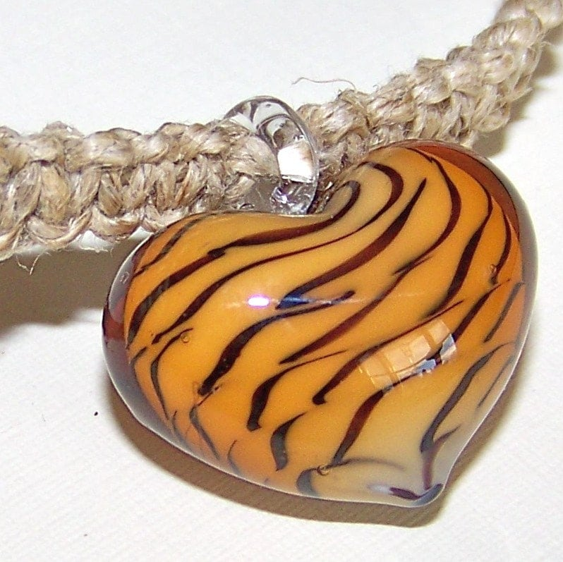 Tiger Striped Heart Pendant on  Hemp Choker - 35cm