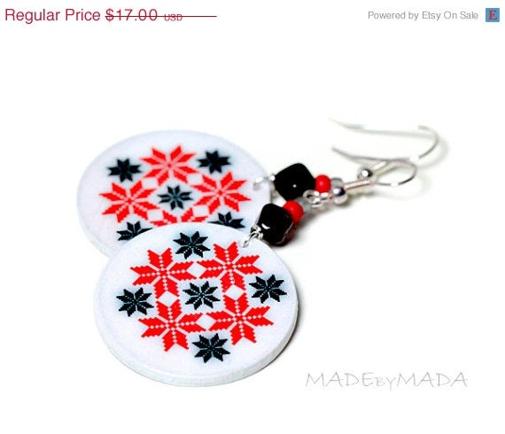 SALE Scandinavian Sweater motif Earrings gray, red, black, Medium size 3cm �, gift for her under 20 - MADEbyMADA