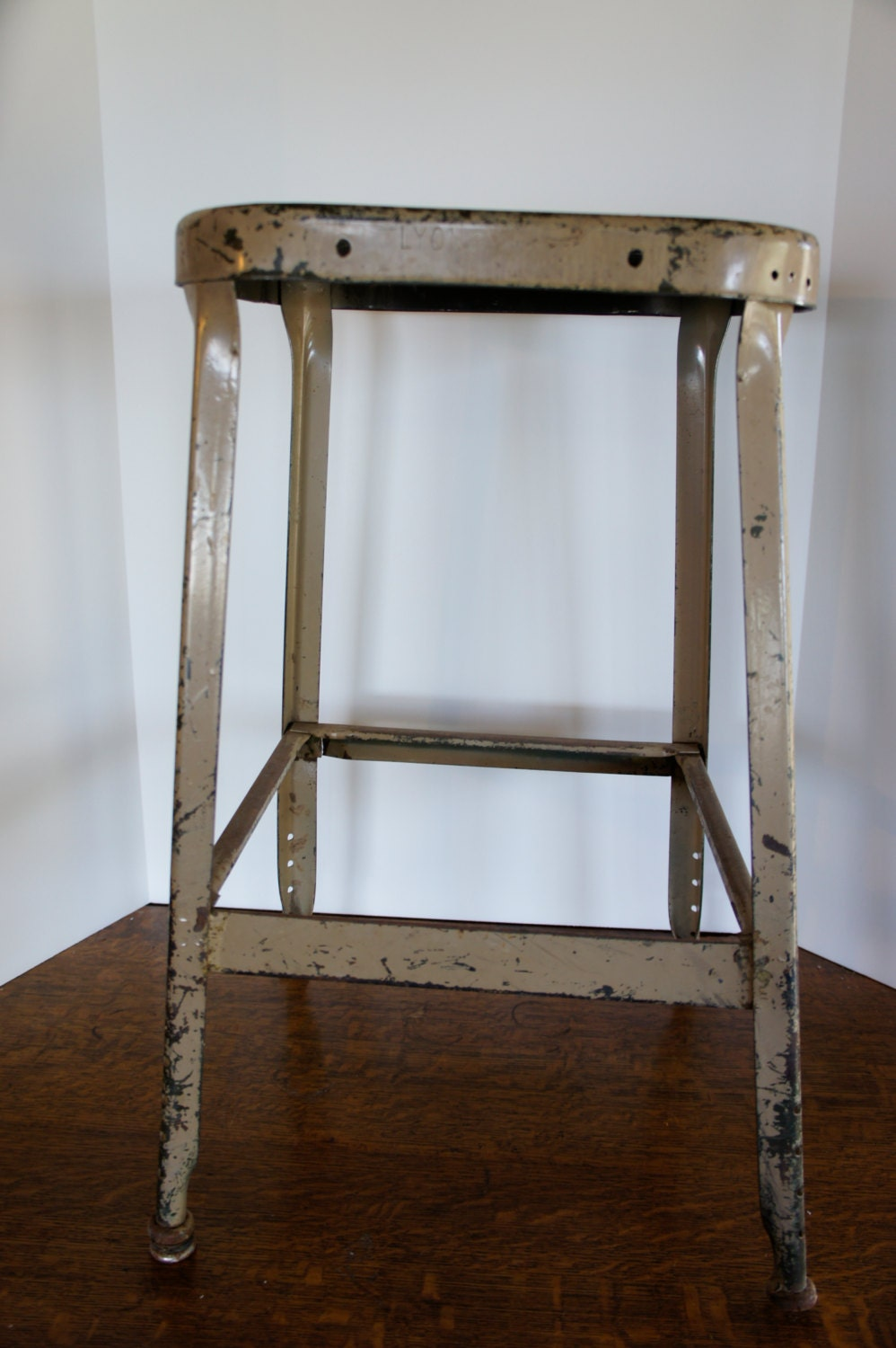 Industrial Metal Stool Lyon Brand Tan Plant Stand Shop By