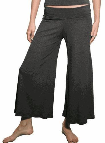 Stretch Rib CROP pull on PALAZZO PANT in many colors - Black, Navy, Chocolate Brown, White, Grey,   4 Yoga or Casual Wear